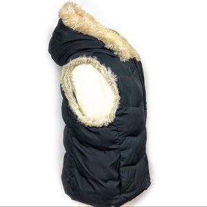 Big Chill Black Puffer Hooded Vest Faux Fur Lined